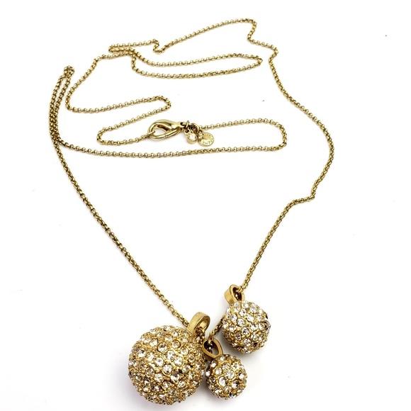 Ann Taylor Jewelry - Ann Taylor Goldtone Triple Pave Balls Chain